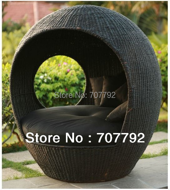 2017 Rattan Outdoor Wicker Lounge Pod Round Wicker Pod-in Sun Loungers from Furniture ...