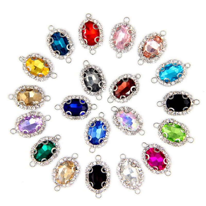 10pcs Silver Base Rhinestone Crystal Bracelet Earrings Connector End Clasp Charms Pendant For Necklace DIY Jewelry Making Z605