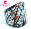 RED SNAKE Fashion Ring Handmade Silver foil and Red line Murano Glass Rings