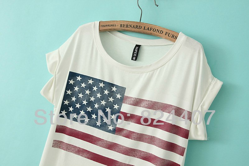 1ae66acfbba Women s American Flag Printed T Shirt T Shirt Tshirt USA Flag Graphic Tees  Summer Clothing Clothes Fashion Casual New 2014-in T-Shirts from Women s  Clothing ...