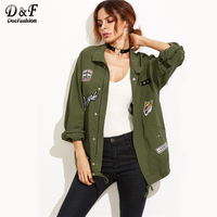 Dotfashion Olive Green Drop Shoulder Utility Jacket With Patch Detail 2017 Autumn Embroidery Zipper Jacket Female Casual Top