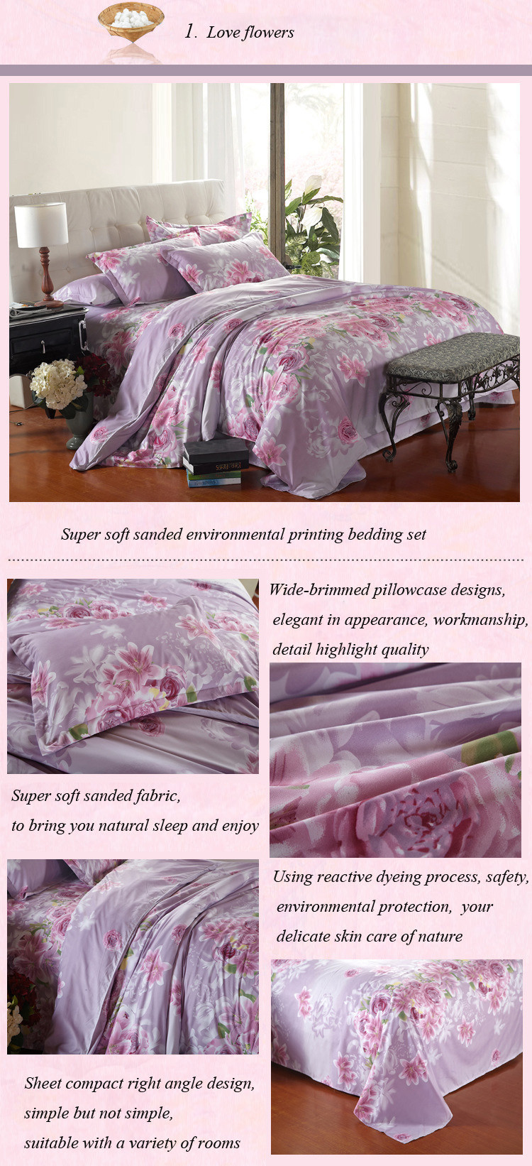 Bedding Set Purple Flowers Bed Sheet Reactive Printing Bed Linen Cotton Bedding Comforter Cover Twin/Full /Queen Size 22-1