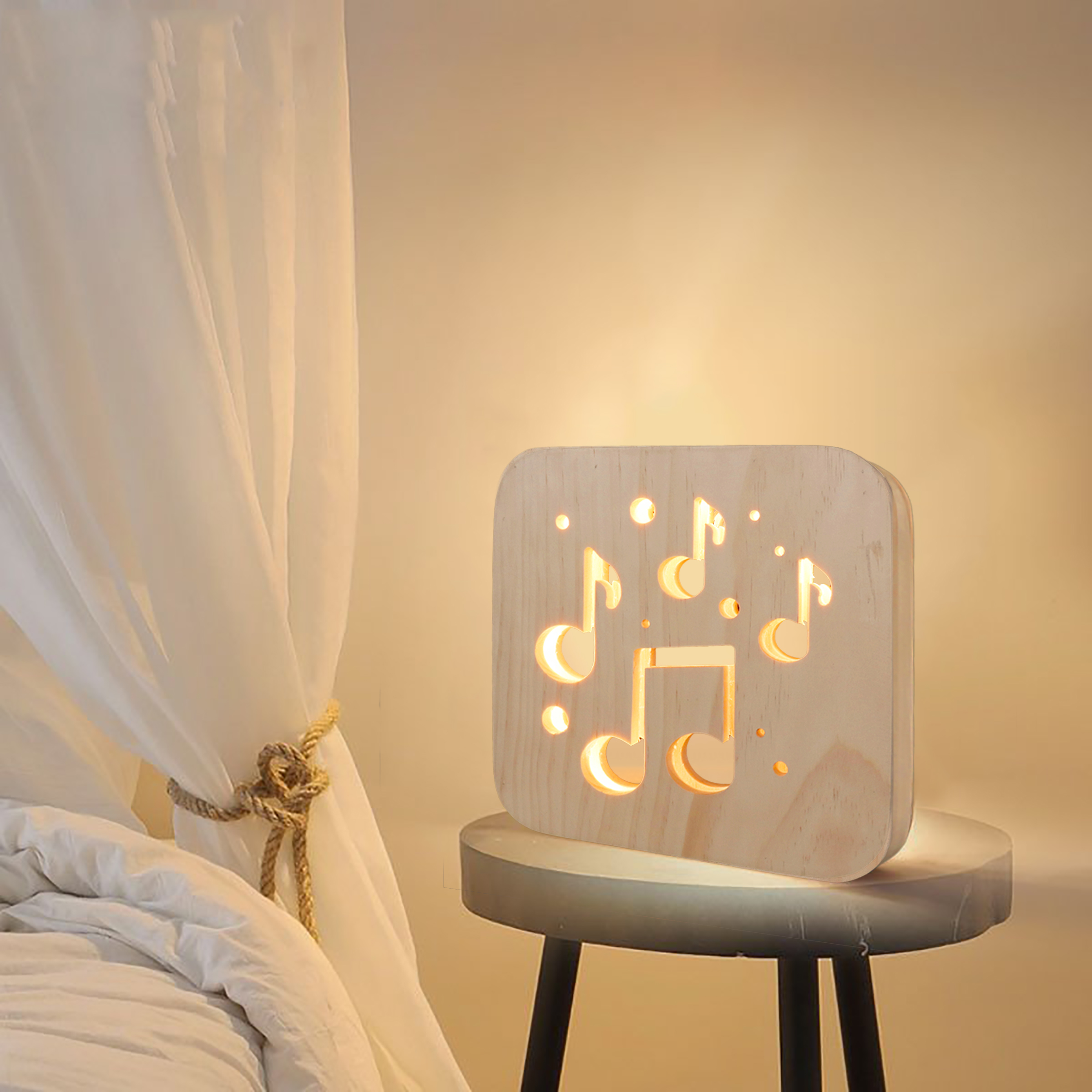 Miumiu Musical Notes Craft Atmosphere Lamp Wooden Carved Hollow Night Light USB LED Baby Children Room Desktop Decoration