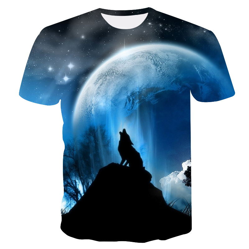 Tops & Tees Men's Clothing Industrious 2019 Summer Wolf Meteor&moon Printed T-shirt Men Tshirt Anger Shirts 3d Hip Hop Tee Animal Mens Clothing Casual Tops Dropship For Fast Shipping