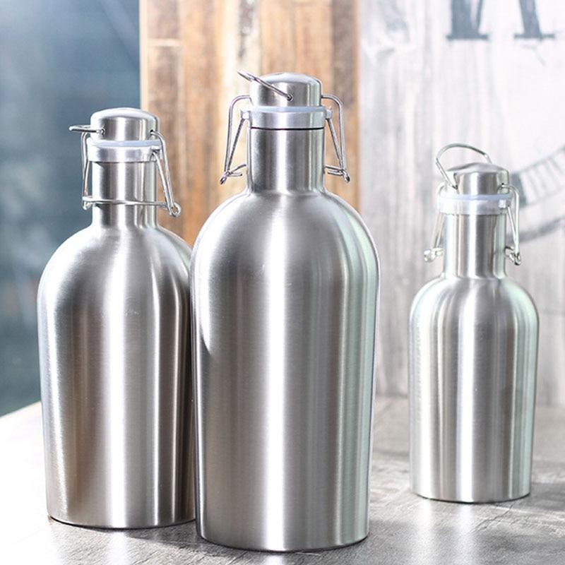 Enfriadores de botellas de vino de acero inoxidable de barril de cerveza saludable enfriadores de doble pared nuevas jarras de vino creativas