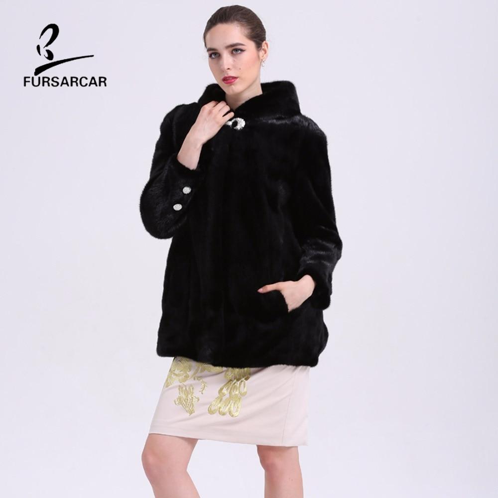 Nyata Natural Mink Fur Musim Dingin Coat Dengan Hooded Untuk Wanita - Pakaian Wanita - Foto 1