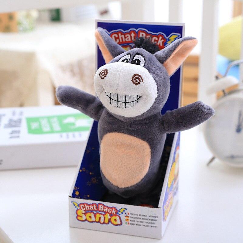 US $10 96 30% OFF|20cm Lovely Donkey Doll Talking Hamster Speak Talk Sound  and Walk Record Repeat Stuffed Plush Animal Kawaii Hamster Animal Toys -in