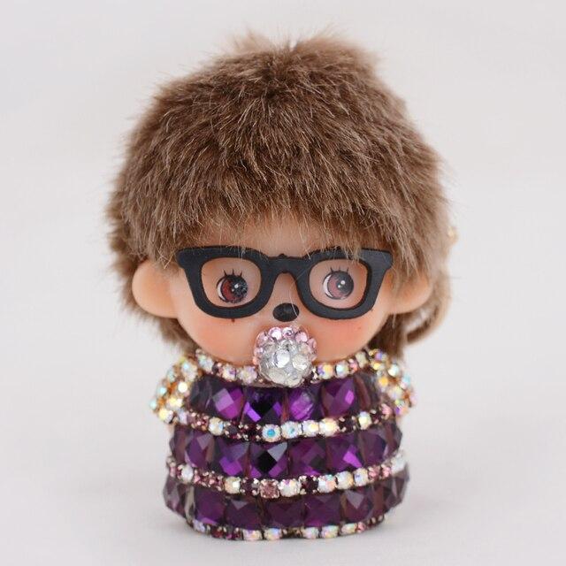 Gold Baby Boy Monchichi Car Charms Luxury Rhinestone chaveiros personalizado key chain women gifts purse bag charms