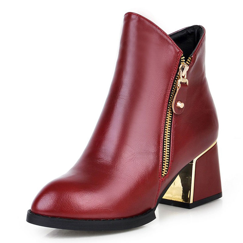 popular martin boots zip  leisure soft leather round-toe woman ankle boots shoes woman med and square heel boots woman ss256