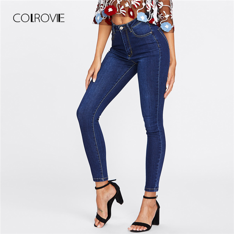 COLROVIE Blue Dark Wash Skinny Denim   Jeans   Women 2019 Spring High Waist Button Fly Casual   Jeans   Female Solid Long Pencil Pants