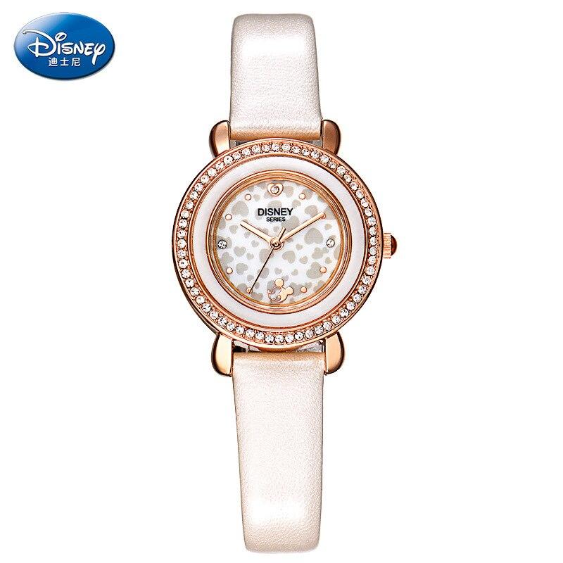 100% Genuine DISNEY Mickey Mouse Women Wrist Watch Simple Diamond Quartz Watch Waterproof Gift Box Cartoon Mickey Mouse Clock
