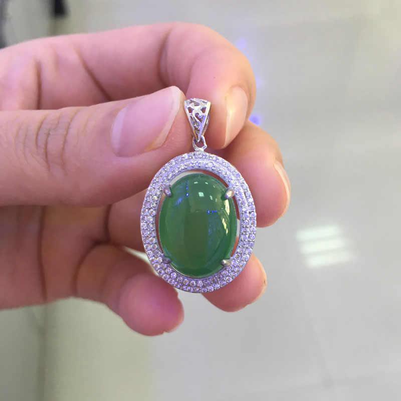 BSL ювелирные изделия 925 стерлингового серебра зеленый нефритовый кулон ожерелье для женщин свадебный подарок 2017 новое поступление