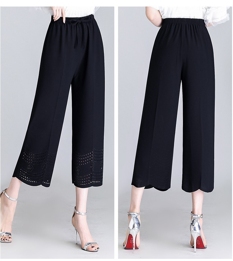2019 Summer Capri Pants Plus Size Capris For Women Elastic Waist Chiffon Stretch Wide Leg Pants Capris Trousers Pantalon Femme in Pants amp Capris from Women 39 s Clothing