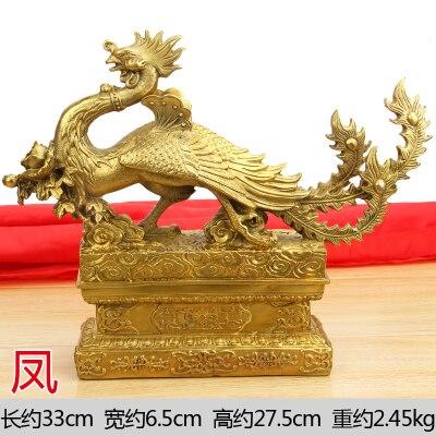 Home Ornaments Crafts Copper Suzaku Auspicious Animal Display Target Dragon Phoenix Brass Statue Crafts Decoration