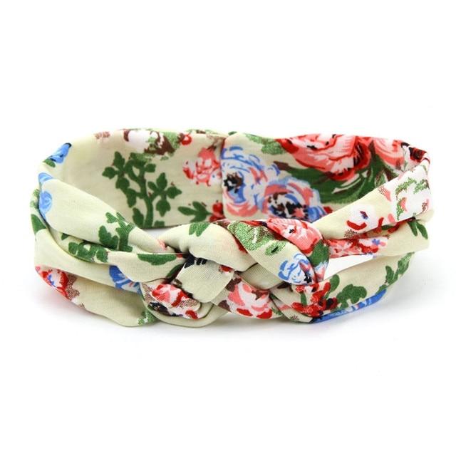 Lovely Flower Printed Cloth Hair Band for Child Turban Knot Cross Headband Headwear Hair Accessories 2