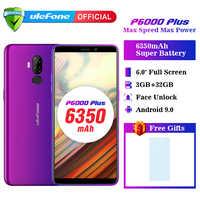 Смартфон Ulefone P6000 Plus, Android 9,0, 6350 мАч, 6,0 дюйма, распознавание лица, HD + Двойная камера, Ouad Core, 3 ГБ, 32 ГБ, Face ID4G LTE