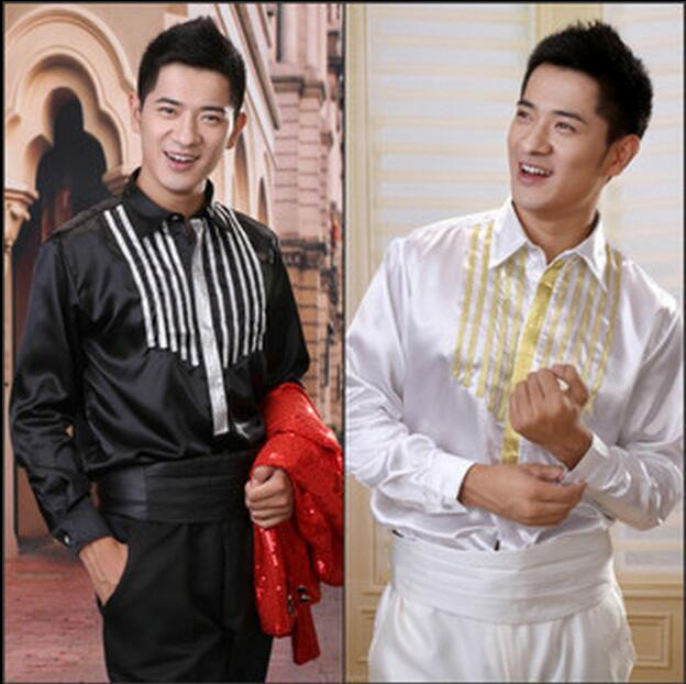 2017 Male costume shirt paillette male costume formal dress clothes The singer s clothing S 3XL