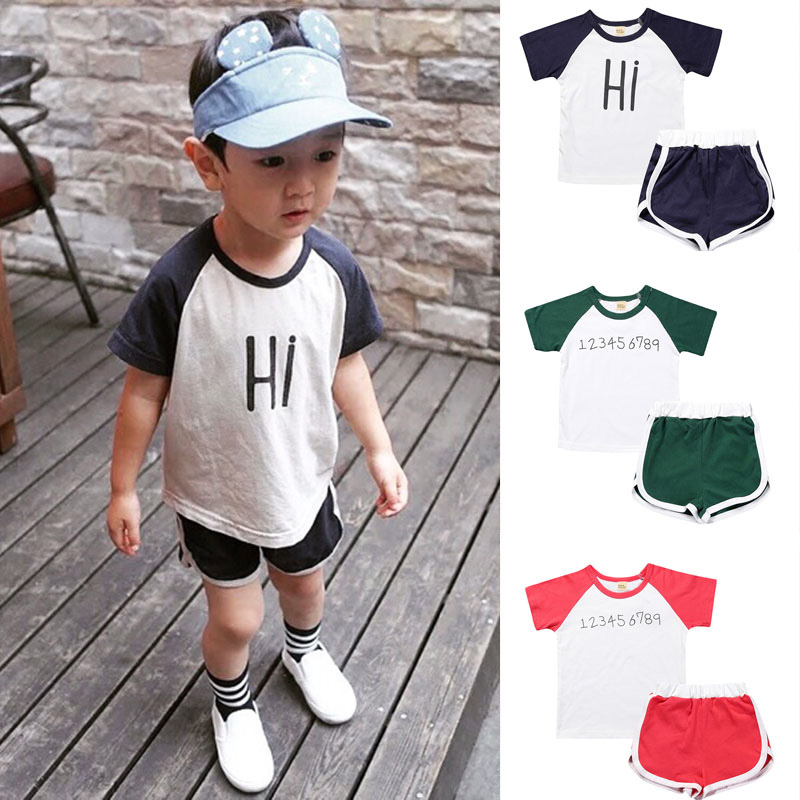 Summer Kids Tracksuit Sets Print T-shirt And Short Pants Boy Sports Suit Kids Streetwear Set Baby Boy Tracksuit Toddler Outfits
