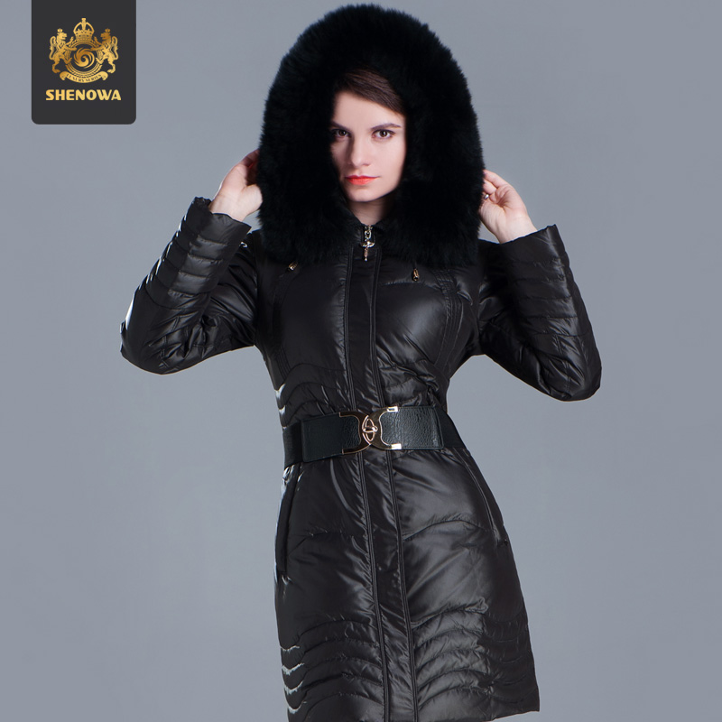 2014 New Arrival Freeshipping Winter New Women Down Jacket Luxurious Fox Fur Collar Medium Long Slim Thicken Plus Size Coat Ems 2014 new arrival rushed full women winter luxurious overcoat raccoon fur collar medium long hooded down jackets thicken coat ems