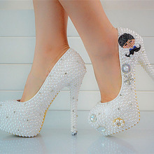 2016 Luxury Round Toe Stiletto High Heels  Pearl Wedding Dress Shoes Platform Prom Party Evening Bridal Accessories