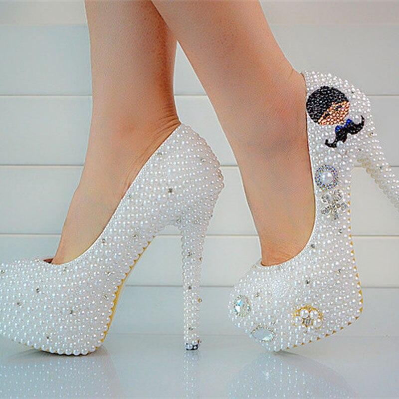 2018 Роскошные круглый носок на высоком каблуке шпильке с жемчугом Свадебные модельные туфли на платформе для выпускного вечерние свадебные