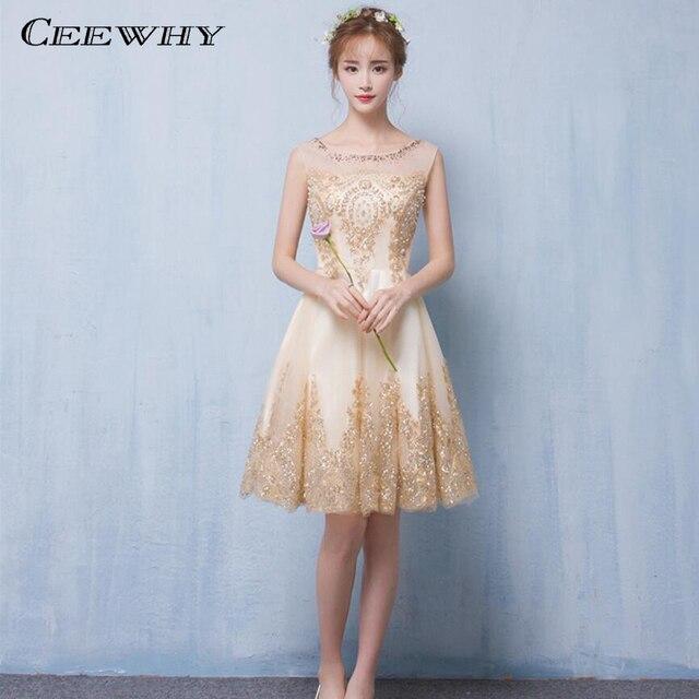 18462ec27 CEEWHY O-cuello Corto Moldeado Vestido de Fiesta Vestidos Formales de Noche  Corto Vestidos de