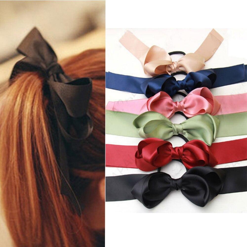 Haar-accessoires Frauen Gummi Bands Tiara Satin Band Haar Bogen Elastische Haarband Seil Haargummis Haargummi Gum Für Mädchen Haar Zubehör
