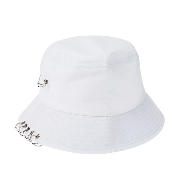 Unisex Iron Ring Bucket Hat Spring Summer Boy Fisherman Hip Hop Sun Hat Male Folding Outdoor Travel Cool Solid Cap