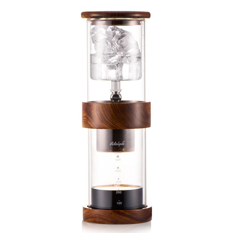 Cold Brew Coffee Dripper Adjustable Ice Drip Dripper with Glass Carafe Coffee Maker doulbe valve water drip coffee maker ice drip coffee maker ice drip colf brewer dripper coffee maker 600cc wood pillar