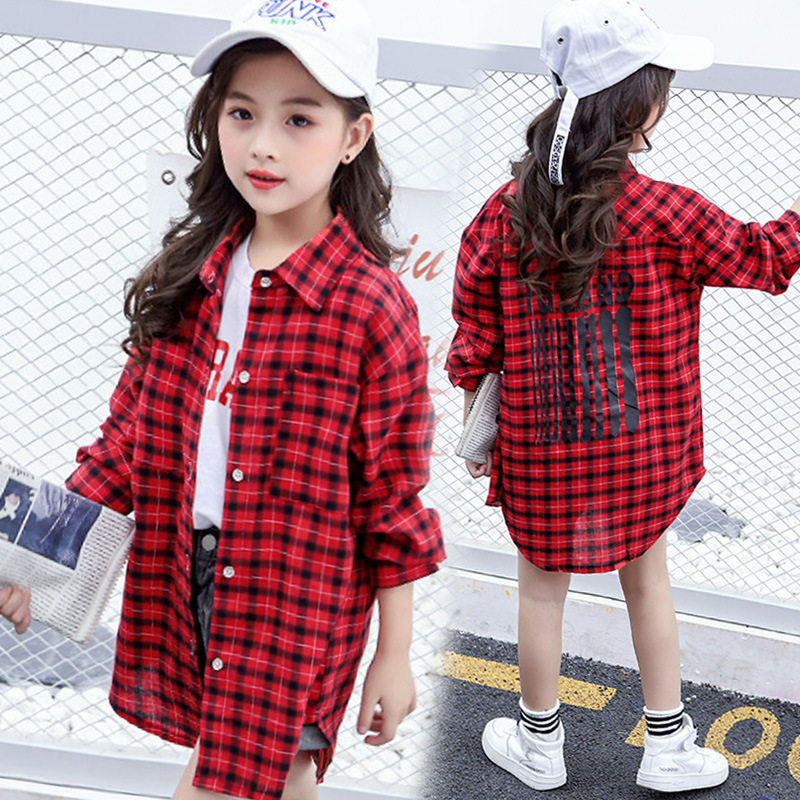 Toddler Plaid Shirt For Girls 2018 New Fashion Long Sleeve Cotton Blouse Teen Tee Shirts Fall Girls Tops 4 5 6 7 8 9 10 11 12 plaid insert side zip hooded tee