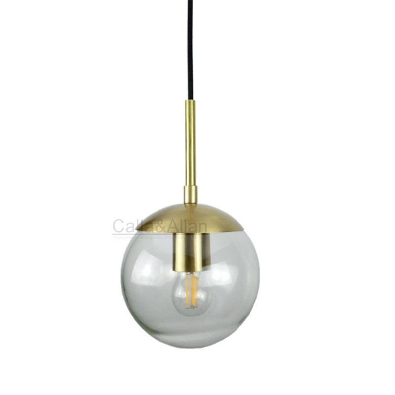 150mm diameter glass pendant light edison bulb LED vintage copper white ball glass shade lighting fixture brass pendant lamp d200mm white glass round ball shade fabric wire pendant lamp fixture brass drop modern home lighting bedroom cafe decoration