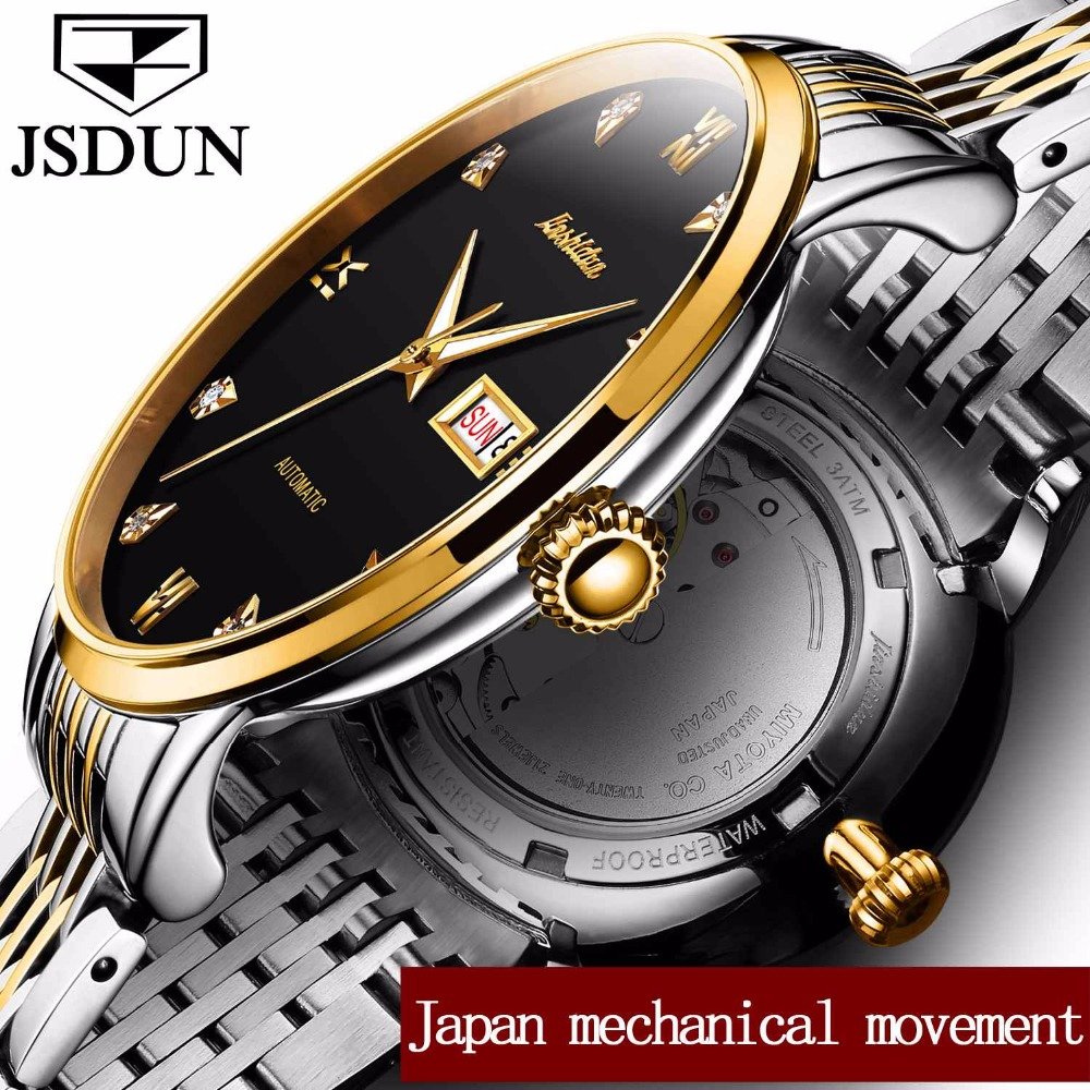 Genuine JSDUN Brand Switzerland Watches Tourbillon Stainless Steel Men Mechanical Wristwatches Business Automatic Calendar Watch 2017 new jsdun luxury brand automatic mechanical watch ladies rose gold watches stainless steel ladies tourbillon wrist watch