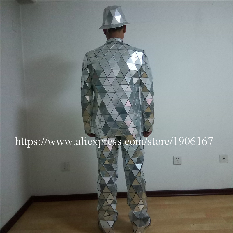 Catwalk Shows Men Silver Color Stage Ballrooom Costume Mirror Man Clothing Party Christmas Performance DJ Singer Clothes Suit03