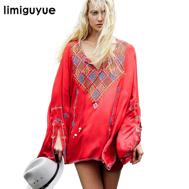 Bohemian People Vintage Embroidery Dress Red Black White Hippie Chic