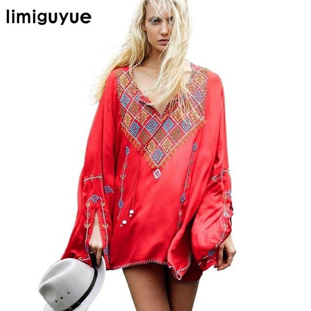 be7acb22de Pessoas Bohemian Vintage Vestido Bordado boho Hippie Chic Curto Vestido  Vermelho Preto Branco de Alta Qualidade