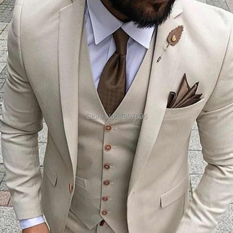 d07fd47f2e ... Beige Slim Fit Men Suits 2019 3 Piece Jacket Pants Vest Custom Made Male  Blazer Bespoke ...