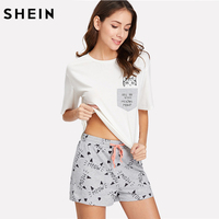 SHEIN Pajamas For Women Sleepwear Multicolor Short Sleeve Drop Shoulder Pocket Cat Print Top And Shorts