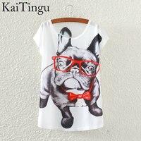 KaiTingu 2016 Brand New Fashion Spring Summer Harajuku Short Sleeve T Shirt Women Tops Glasses Dog