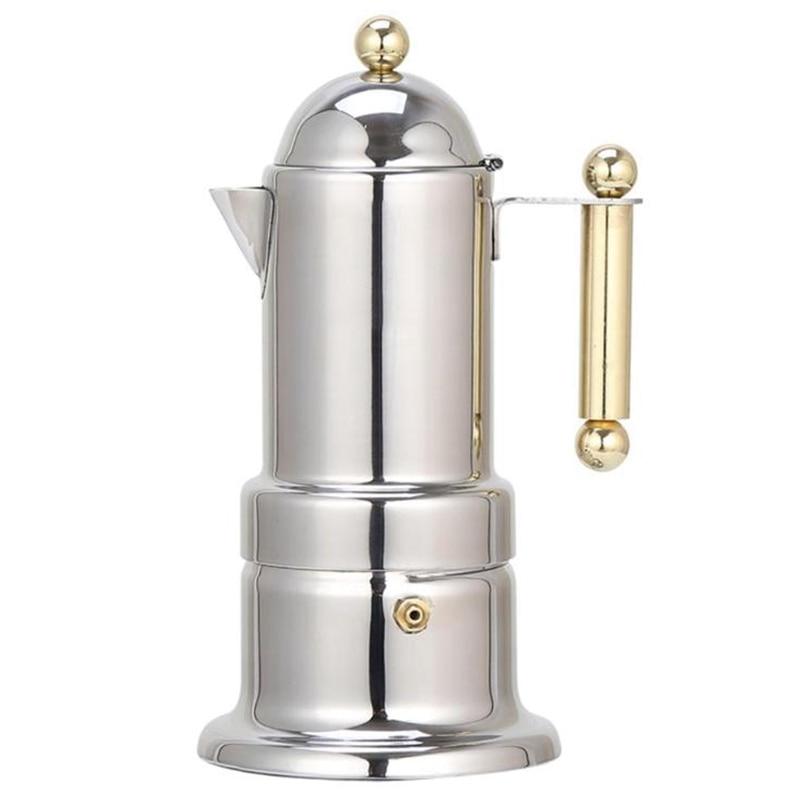 200ml 4 Cups Stainless Steel Coffee Pot Moka Coffee Maker Teapot Filter Automatic Coffee Machine Espresso Machine