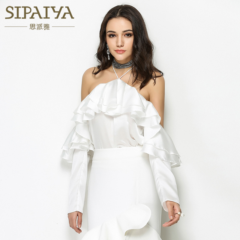 Casual Sexy New Sleeved Strapless Fashion Halter Neck Summer Blouse Frilled Autumn purple white Paiya Shirt Black Long qIwrPqC