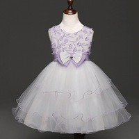 Girls Dress Summer Dresses Appliques Flower Girl Bow Layered Birthday Party Ball Gown 3 Colors Sweet