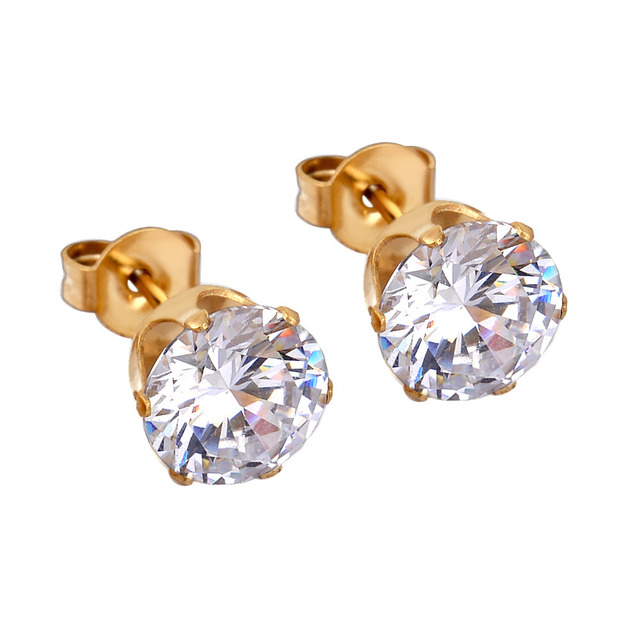 Hypoallergenic 316l Stainless Steel Round Pure Zircon Stud Earrings Jewelry Gold And Silver Two Tone