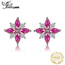 JewelryPalace Flower 0.9ct Created Ruby Stud Earrings Real Pure 925 Sterling Silver Trendy Party Earrings Fine Jewelry For Women