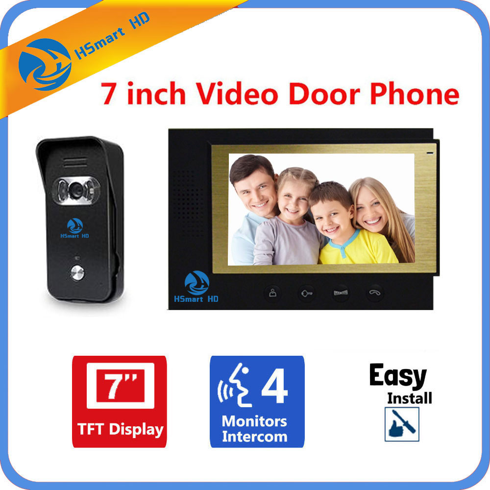 HSmart HD 7 inch Color Video Doorphone Door Bell Intercom System IR Night Vision Camera Video Doorbell Kit for Home Apartment 5pcs pack reduce blood sugar diabetic plaster diabetes treatment cure diabetes patch medications natural herbs