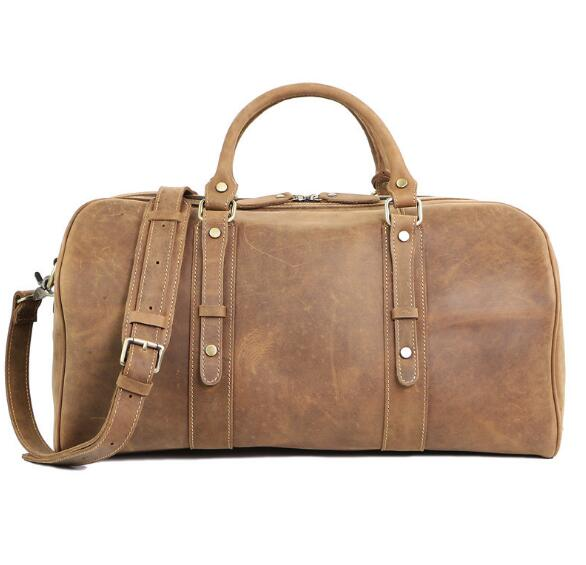 Vintage genuine leather men large travel duffle cow skin solid holdall