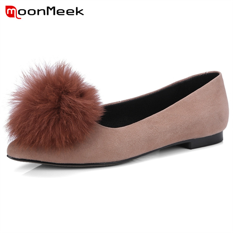 MoonMeek 2018 classic summer   suede     leather   shoes woman pointed toe simple fashion leisure popular comfortable women Flats
