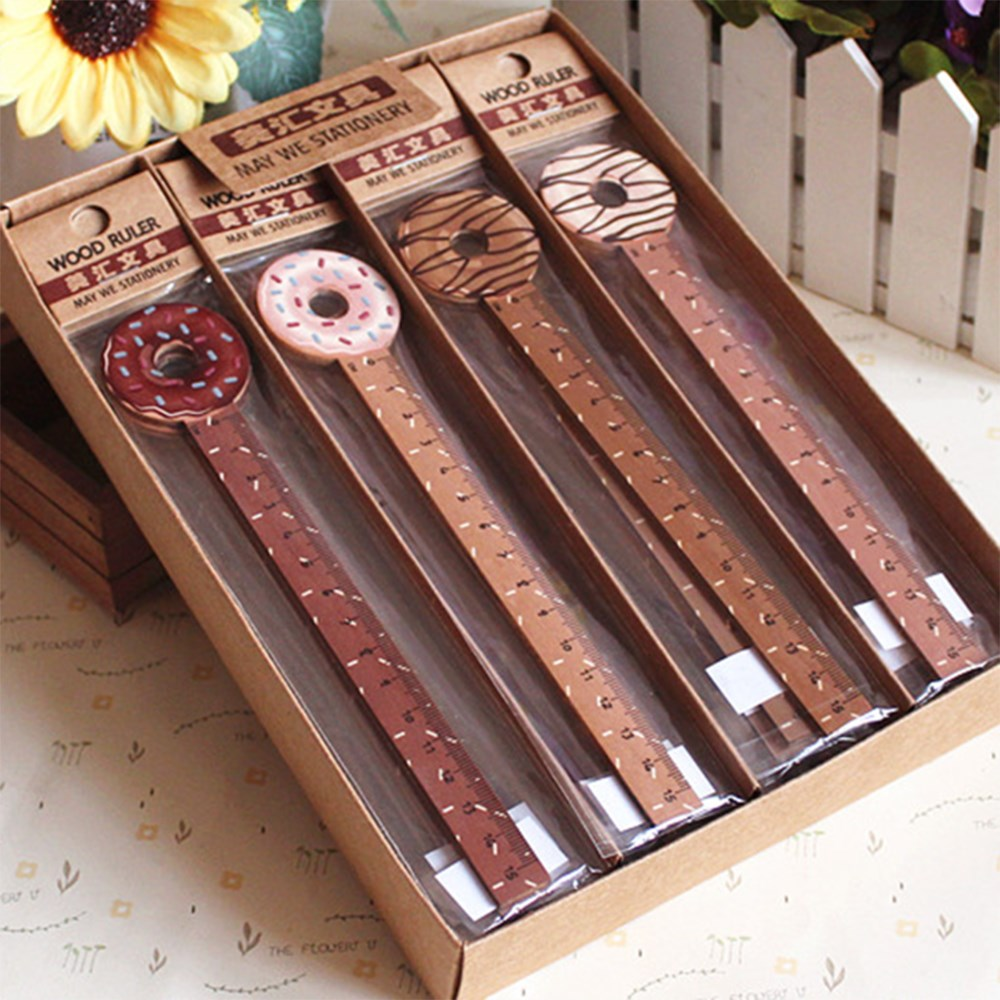 Limit Shows 15cm Cartoon Drawing Geometric Ruler Creative Food Dessert Donut Shape Wooden Straight Ruler School Office Stationer