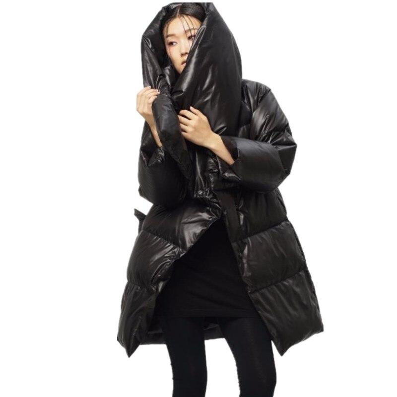 Réel Taille Grande Marque Ceinture khaki Wq516 Mode Canard Chaud Collier Spécial De Hiver Duvet Genou 90 Black Sur Manteau Le Femelle Avec TYSxn7wdq5