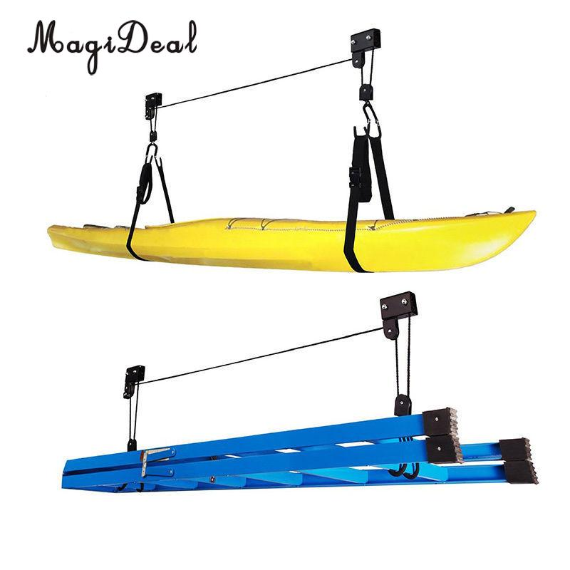 MagiDeal High Quality 1Pc Powder Coated Steel Canoe Boat Kayak Hoist Pulley System Bike Lift Garage Ceiling Storage Rack Acce magideal marine canoe kayak boat fishing pp 3 pole rod holder tube mount bracket rack pliers storage for water rowing boat acce