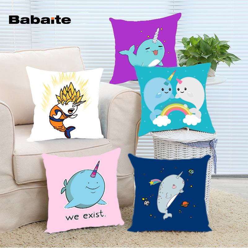 Babaite Funny Cute Cartoon Narwhal BBQ Wukong Unicorn of the Sea Throw Pillow Cover Nice Square Invisible Zippered Pillowcase